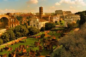 Историческое световое шоу на форуме Августа в Риме