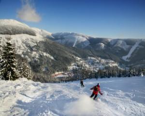 Начало горнолыжного курорта в Чехии.